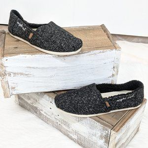 TOMS Black Fuzzy Slip on Shoes